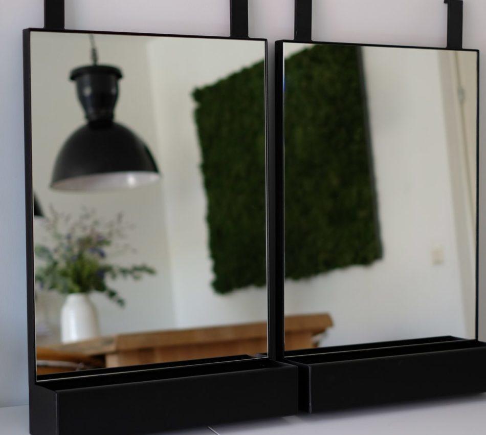 Spiegel met stalen omlijsting en bak matzwart