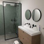 Ronde spiegel met stalen frame lijst matzwart